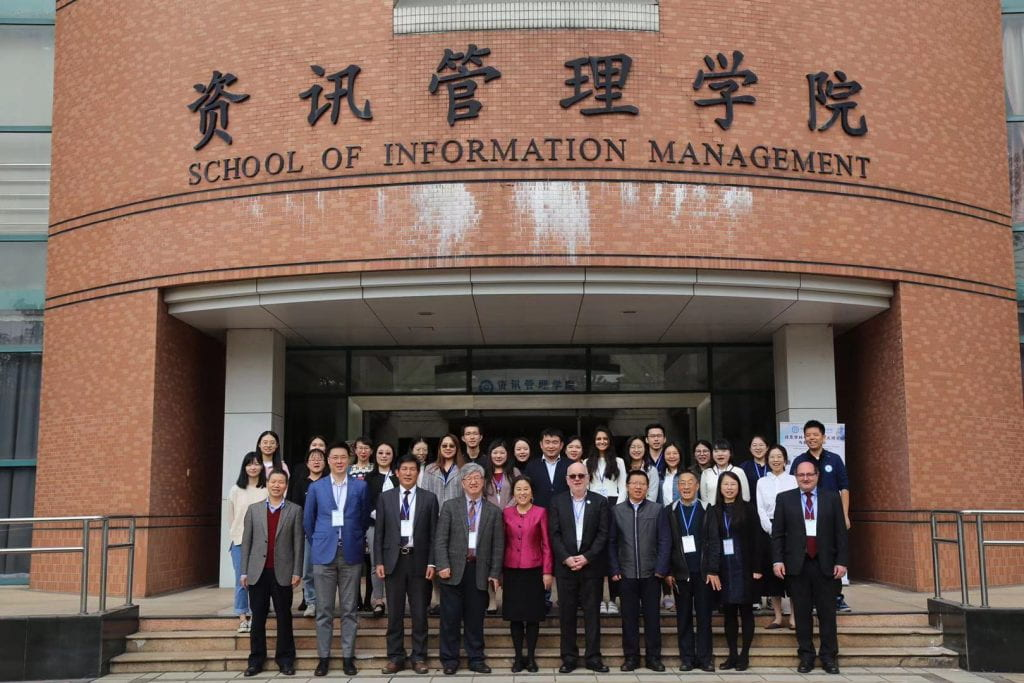 Mandatory conference group photo at the School of Information Management, Sun Yat-sen