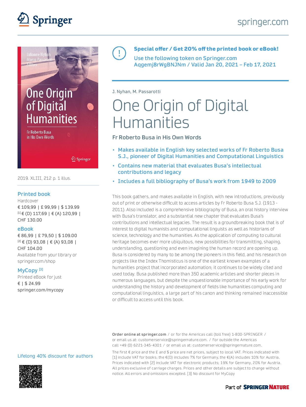 20% discount flyer 'One origin of DH'