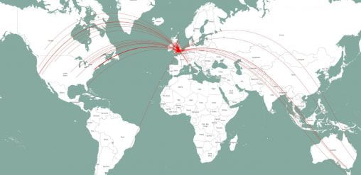 A map of the world, with connections marked between London and (chiefly) UK, North America, Australia