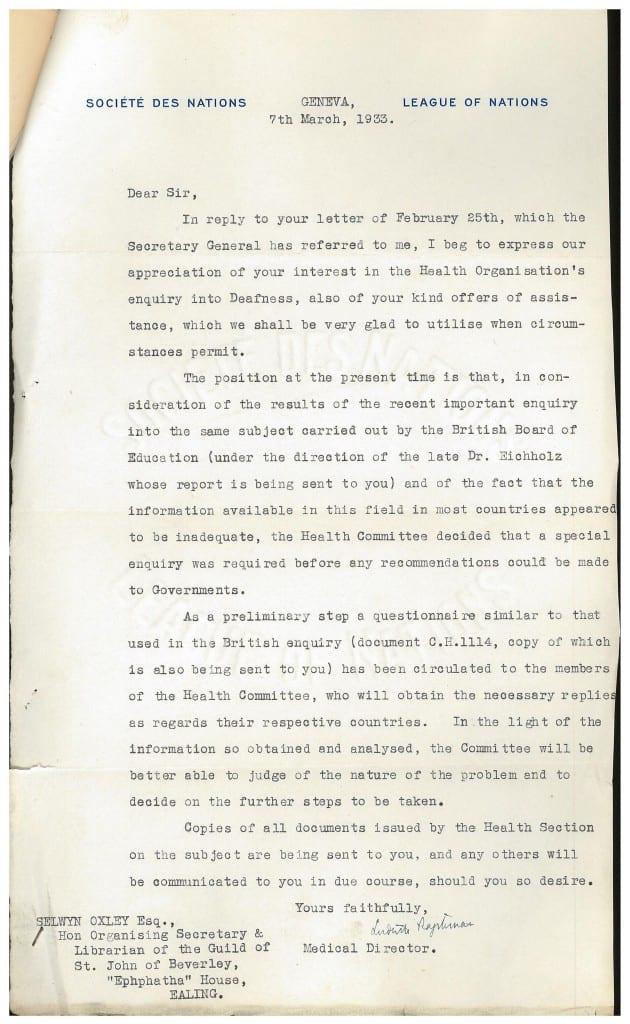 Ludwik Rajchman letter