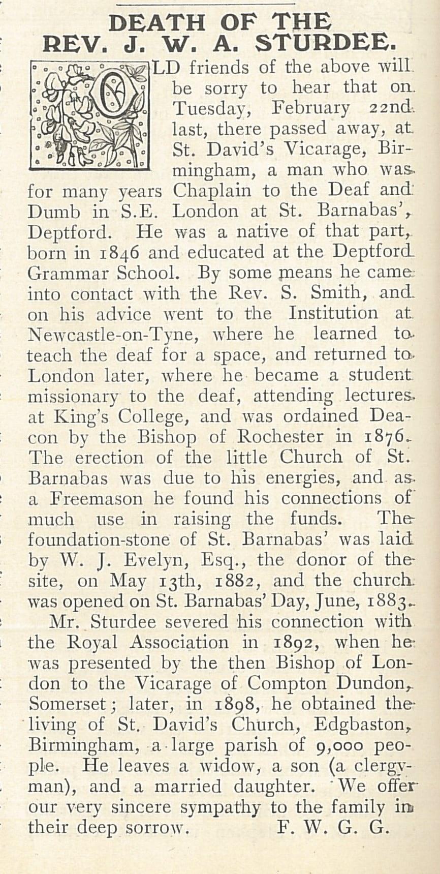 Sturdee obituary 1910 Ephphatha p.78