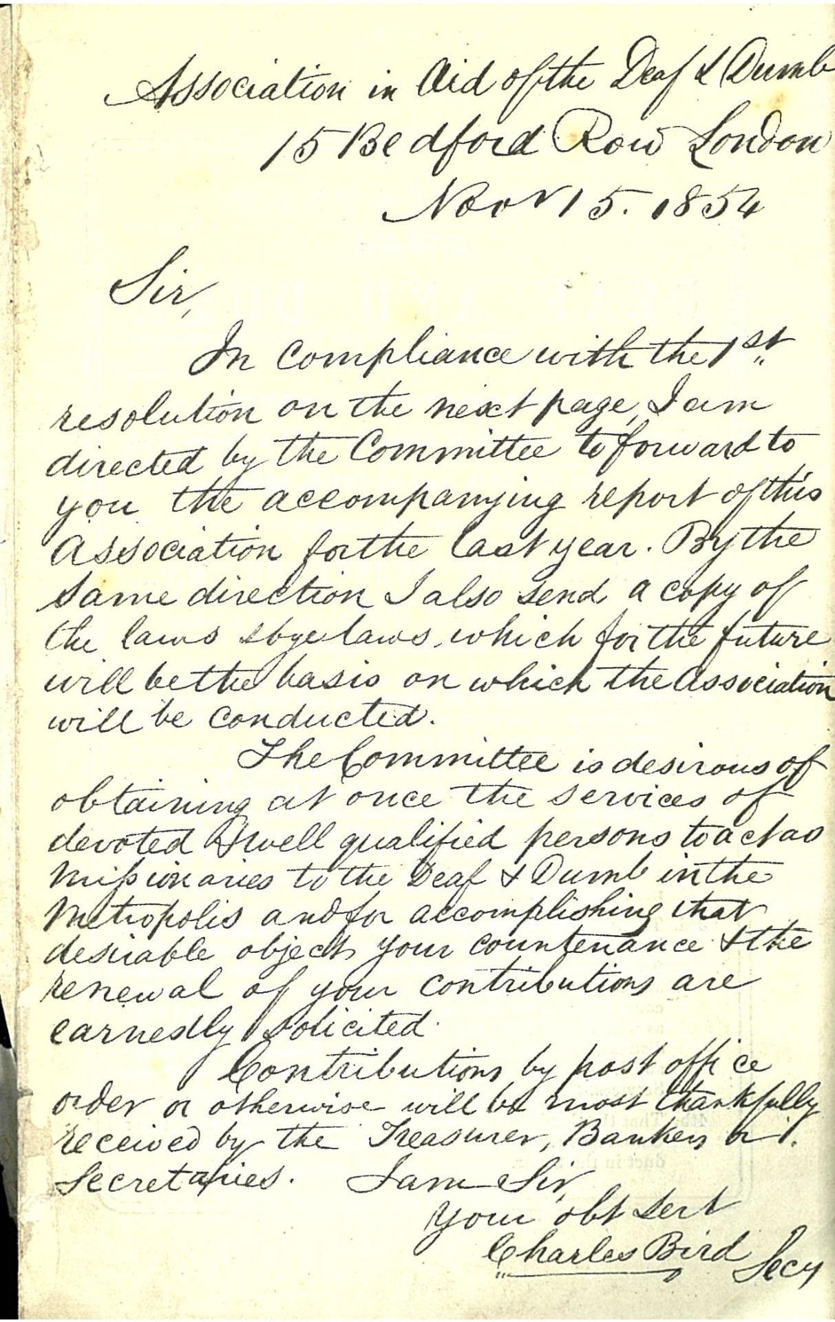 Associaton letter 1854