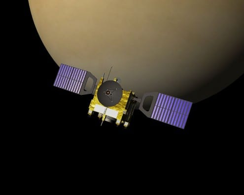 Computer rendering of ESA's Venus Express probe. Credit: public domain (Celestia)