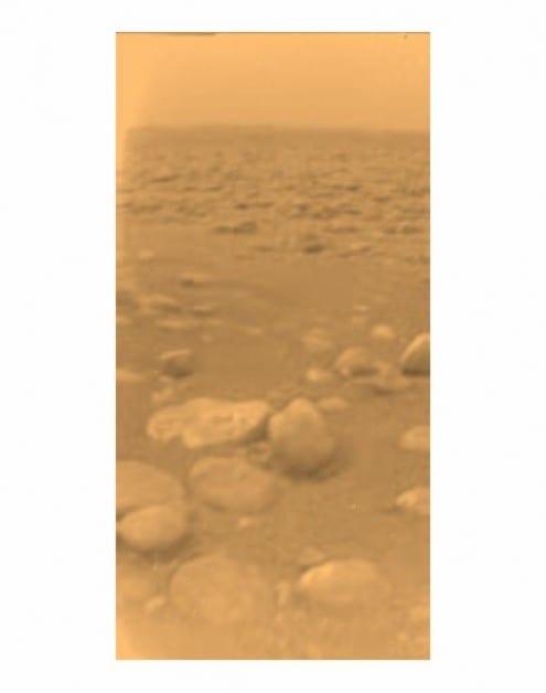 Huygens photo of Titan's surface. Credit:      NASA/JPL/ESA/University of Arizona (public domain)