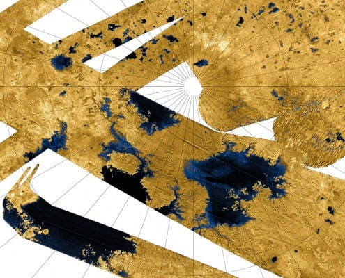 Hydrocarbon lakes on Titan, observed by the radar onboard Cassini. Radars do not produce colour images - in this picture, the smooth areas (lakes and rivers) have been coloured blue to improve contrast. Credit: NASA/JPL-Caltech/USGS (public domain)