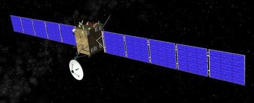 Computer rendering of the Rosetta spacecraft. Credit: public domain (Celestia)