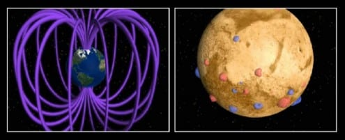 The magnetic fields of Earth (left) and Mars (right). Earth has a strong, planet-wide magnetic field that shields our atmosphere from the Solar wind. Mars has only small localised areas of magnetism. Credit: NASA/GSFC (public domain)