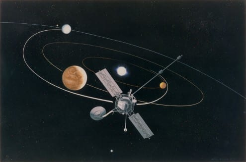 Artist's impression of Mariner 10. Credit: NASA/RPIF/UCL Earth Sciences (public domain)