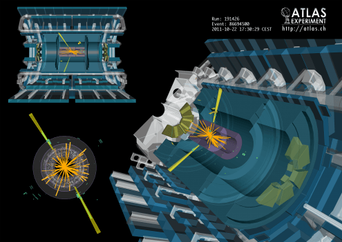 A two-photon event captured in the ATLAS experiment at CERN. This is one of the experiments that analyse particles accelerated and collided in the Large Hadron Collider, and played a key role in the discovery of the Higgs Boson. Photo credit: CERN (CC-BY-SA 4.0)