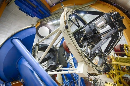 The Dark Energy Camera on the Blanco telescope in Chile will give new data on the structure and distribution of galaxy clusters in the universe. Photo credit: Reidar Hahn/Fermilab (All rights reserved)