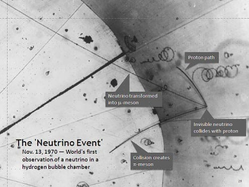 The first detection of a neutrino in a bubble chamber, in 1970. Photo credit: Argonne National Laboratory (public domain)
