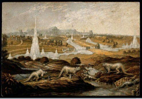 The Crystal Palace Dinosaurs in 1854, by John Haygarth. Picture credit: Wellcome Trust (CC-BY)