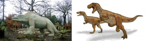 Hawkins' megalosaurus (left) doesn't look much like modern reconstructions. Photo credit: CGP Grey (CC-BY) and Mariana Ruiz (public domain)