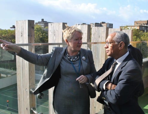 NASA Administrator Charlie Bolden (right) with UCL Academy principal Geraldine Davies (left)