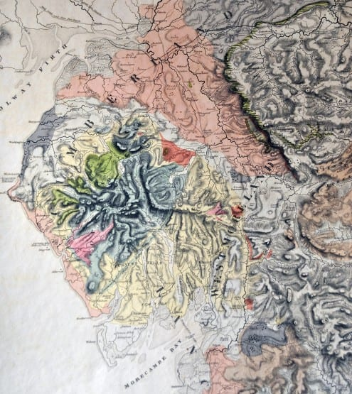 Part of George Greenough's 1819 geological map of England & Wales, showing modern-day Cumbria (then Cumberland and Westmoreland)