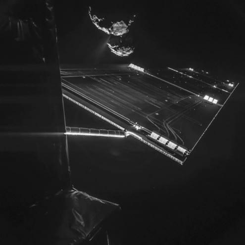 Comet seen over Rosetta's solar array, 14 October 2014. Credit: ESA/Rosetta/Philae/CIVA