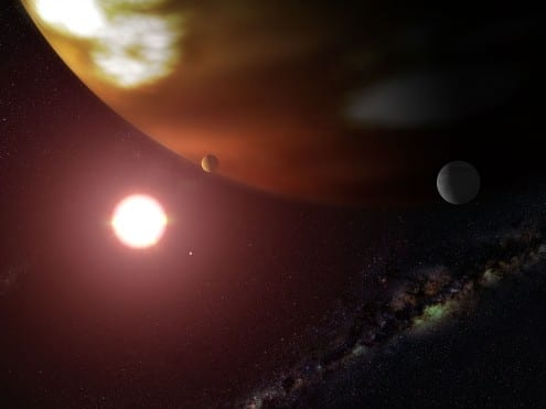 Artist's impression of exoplanet Gliese 876b. Credit: NASA, ESA, G. Bacon (STScI)