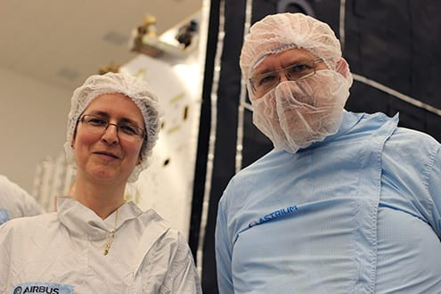 Louise Harra and Chris Owen, both of UCL Mullard Space Science Laboratory, at the Airbus facility in Stevenage. Photo: O. Usher (UCL MAPS)