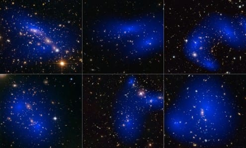 Maps of dark matter locations around galaxy clusters. Credit: NASA, ESA, D. Harvey, R. Massey