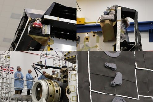 The scientific instruments UCL is contributing to. Top left: the Solar Wind Analyser PAS Top right: the Solar Wind Analyser HIS Bottom left: the Solar Wind Analyser EAS (on the boom being attached to the spacecraft) Bottom right: the apertures in the heat shield behind which the Extreme Ultraviolet Imager is located