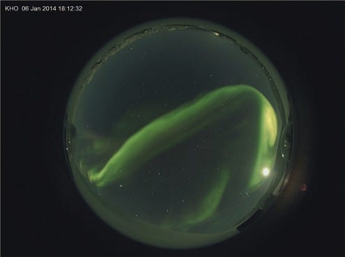 Aurora observed from the observatory during night-time hours on 6 January. Credit: UCL Atmospheric Physics Group