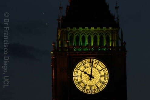 Venus and Jupiter by Big Ben on 30 June. Photo credit: Francisco Diego (All rights reserved, not to be reproduced without permission)