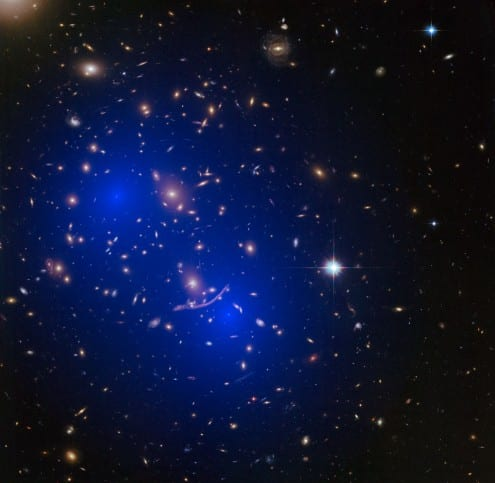 Dark matter can be detected by astronomers (as seen in this Hubble image of a galaxy cluster), but it has not been spotted on Earth, and is known to not be made out of any of the particles in the standard model. Credit: NASA/ESA (CC-BY)
