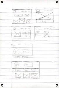 IXD103 – Portfolio Site Paper Wireframes