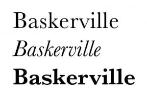 Baskerville-roman, italics and bold