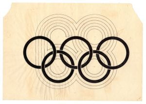 Image of Wyman's original compass sketch for the 1968 Olympics