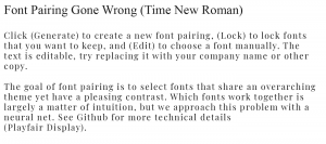 Example of poor font pairing