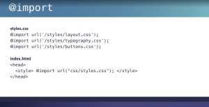Code for importing stylesheets