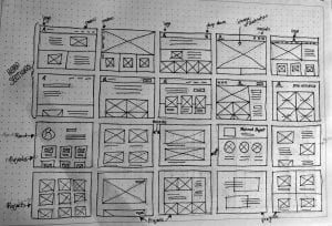 Initial ideas as small wireframes