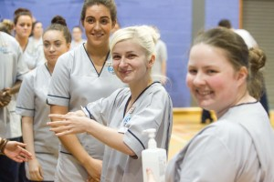 Glasgow Caledonian University nursing students attempt record breaking hand wash on European Antibiotic Awareness Day For more details see press release Pic Peter Devlin