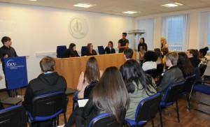 Student judges delivering their verdicts to classmates in our Moot room