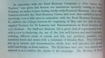 photograph of a paragraph from the minutes describing the work of the College in the Food Economy Campaign