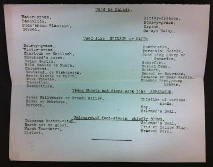 photograph of a typed list of wild plants