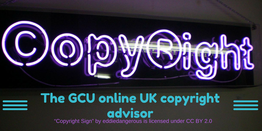Logo for GCU online UK copyright advisor