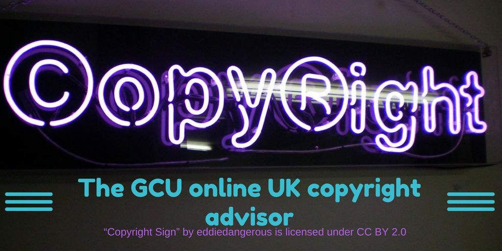 Logo for GCU online UK copyright advisor