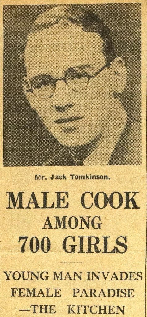 "Photograph of Jack Tomkinson above headline ""Male Cook among 700 girls"""