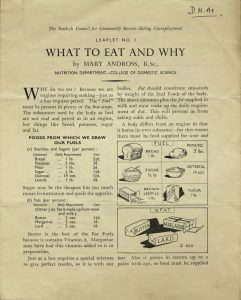 image of an information leaflet about nutrition in foods