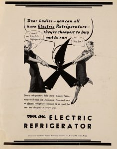 image of an advert for an electric fridge showing two women pulling at a impish character as though fighting over a fridge