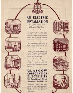 Advert for electric installation from Glasgow Corporation Electricity with illustrations of electric lighting