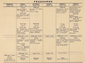 image of a programme with dates and activities including talks, practical activities and visits relating to electrical appliances and electricity supply