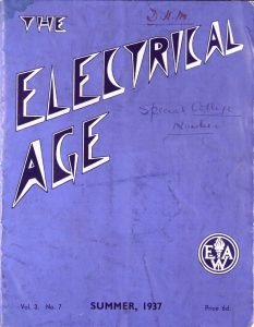 "image of a blue magazine with title ""The Electrical Age"" in a spiky futuristic-looking font"