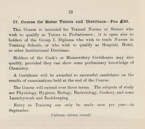 image of a page from the prosectus with details of the course for sister tutors and dieticians