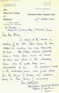 image of a handwritten letter discussing the hours spent by Miss Vickery on the study of anatomy.