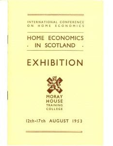 Cover of programme for Exhibition held at Moray House Training College from 12th-17th August 1953