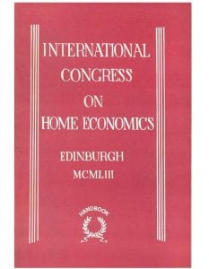 Cover of handbook for International Congress on Home Economics, Edinburgh 1953 (date given in roman numerals)