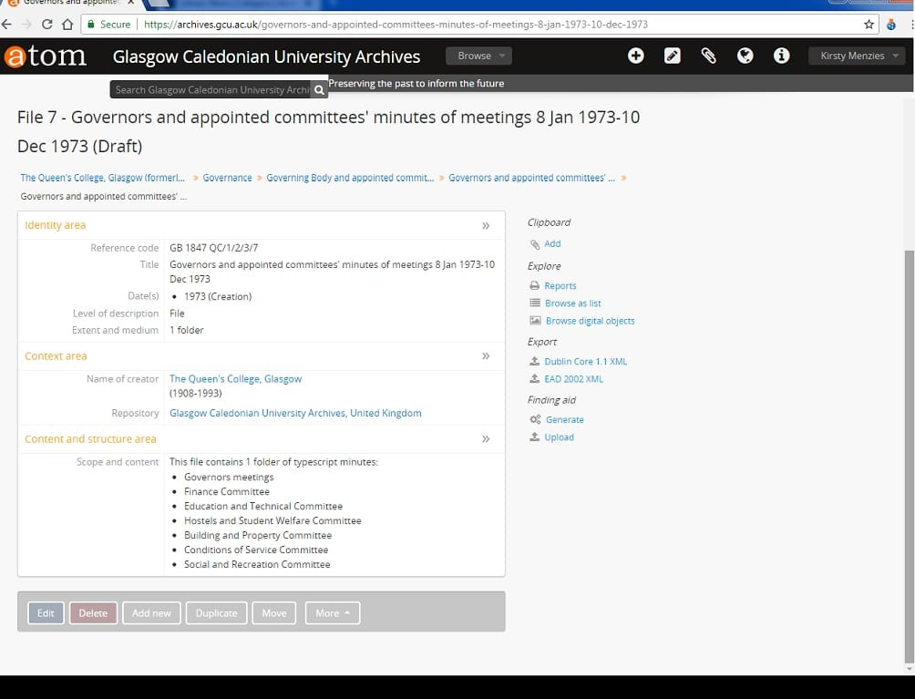 screenshot showing a catalogue entry for Governors and appointed committees' minutes, on atom